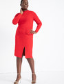 Ruched Front Dress with Slit Tango Red