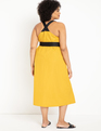 Halter Midi Dress with Contrast Belt Sunflower + Black