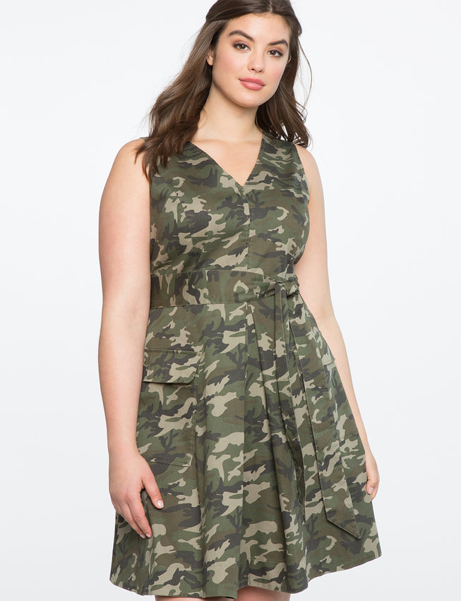 Sleeveless Fit and Flare Camo Dress