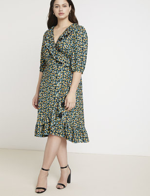 Jason Wu/ELOQUII Printed Ruffle Wrap Dress