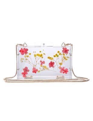 Floral Acrylic Box Clutch