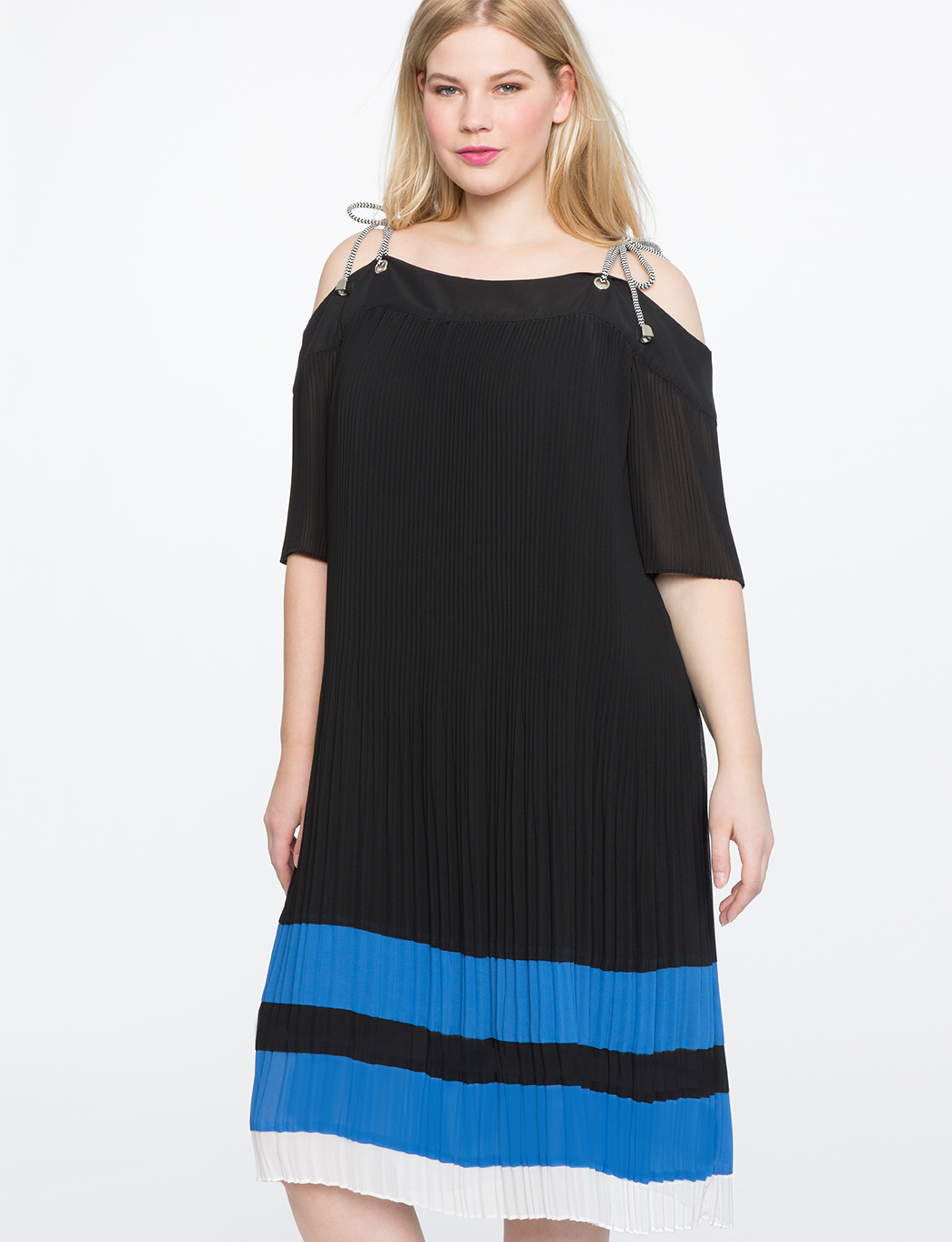 d0651452471 Cold Shoulder Pleated Dress | Women's Plus Size Dresses | ELOQUII