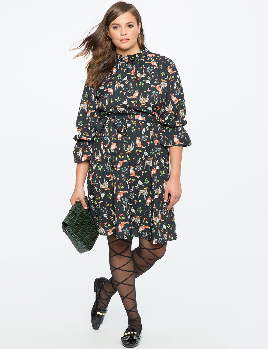 Ruffle Detail Printed Dress with Tie Waist