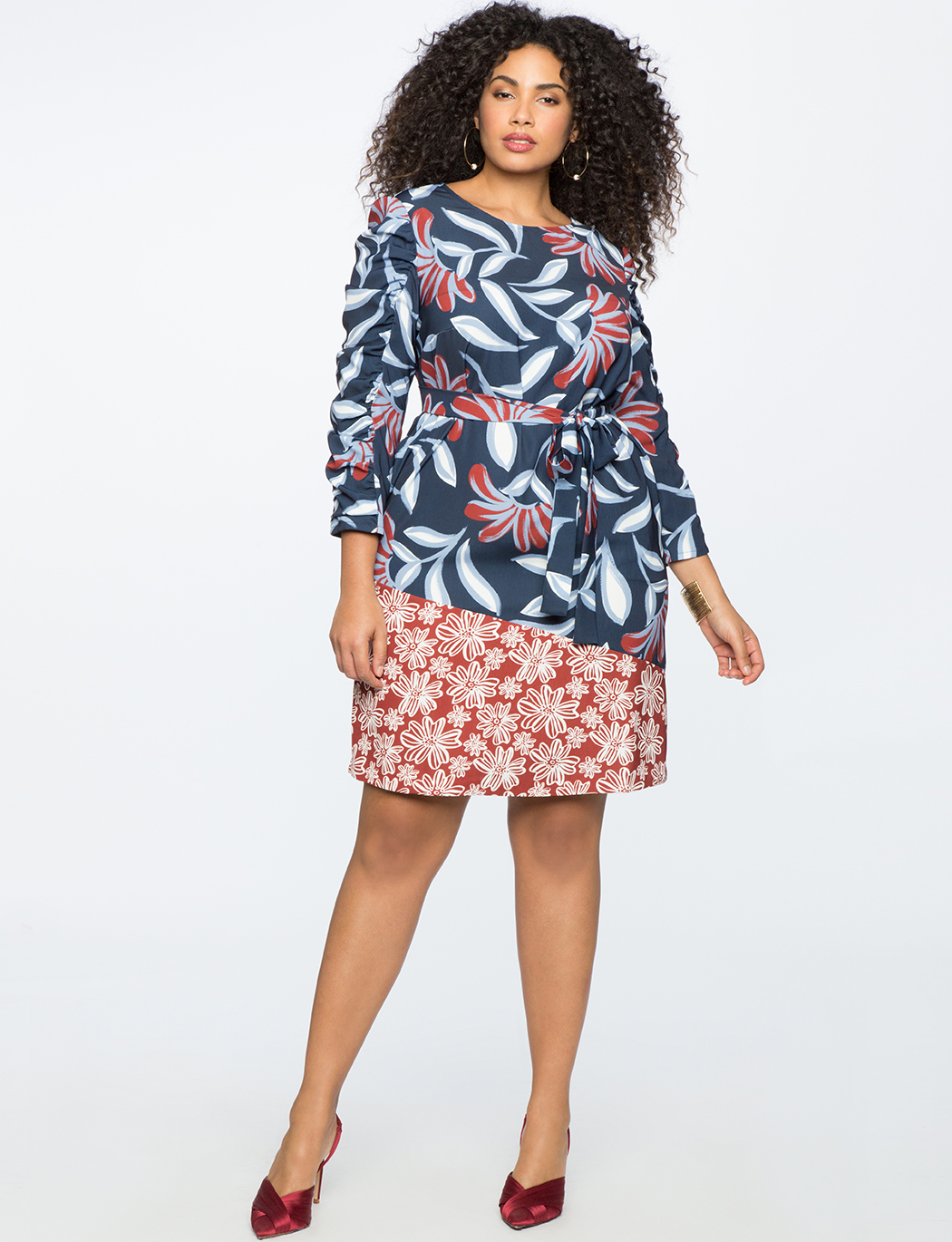 Mixed Print Easy Dress with Gathered Sleeves