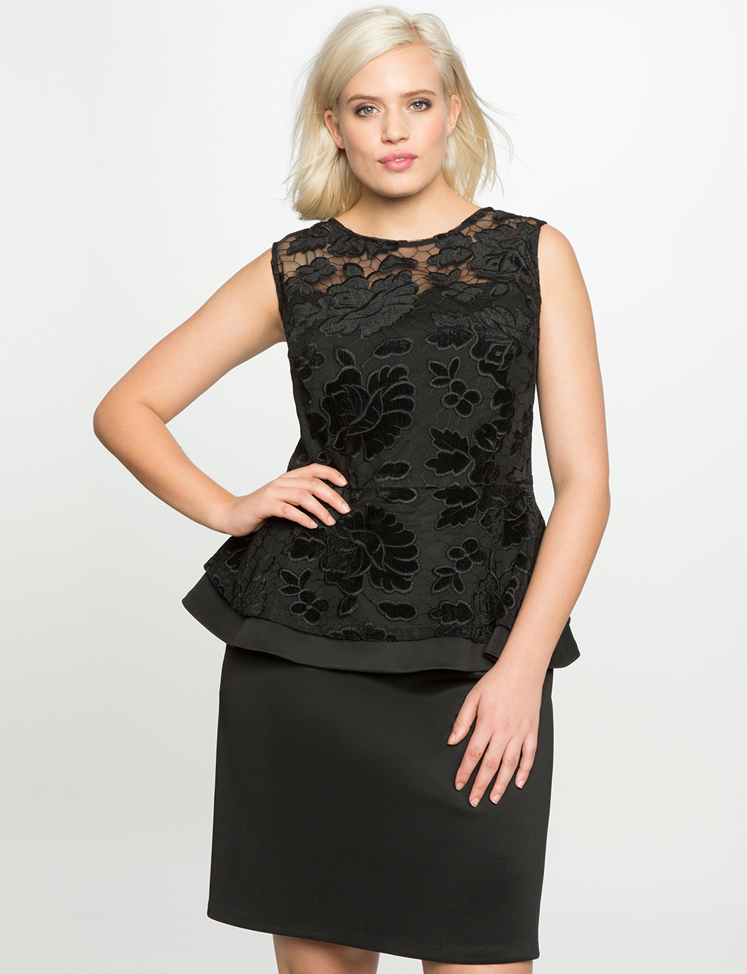 Embroidered Peplum Dress
