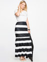 Trumpet Maxi Skirt with Ruffle BLACK + WHITE