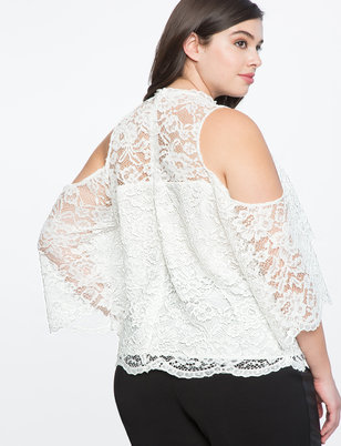 Lace Cold Shoulder Overlay Top