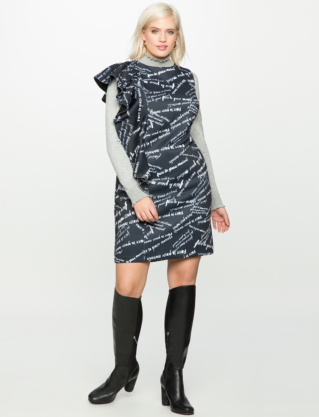 Printed Asymmetrical Ruffle Dress