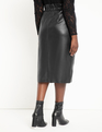 Button Front Faux Leather Skirt Totally Black