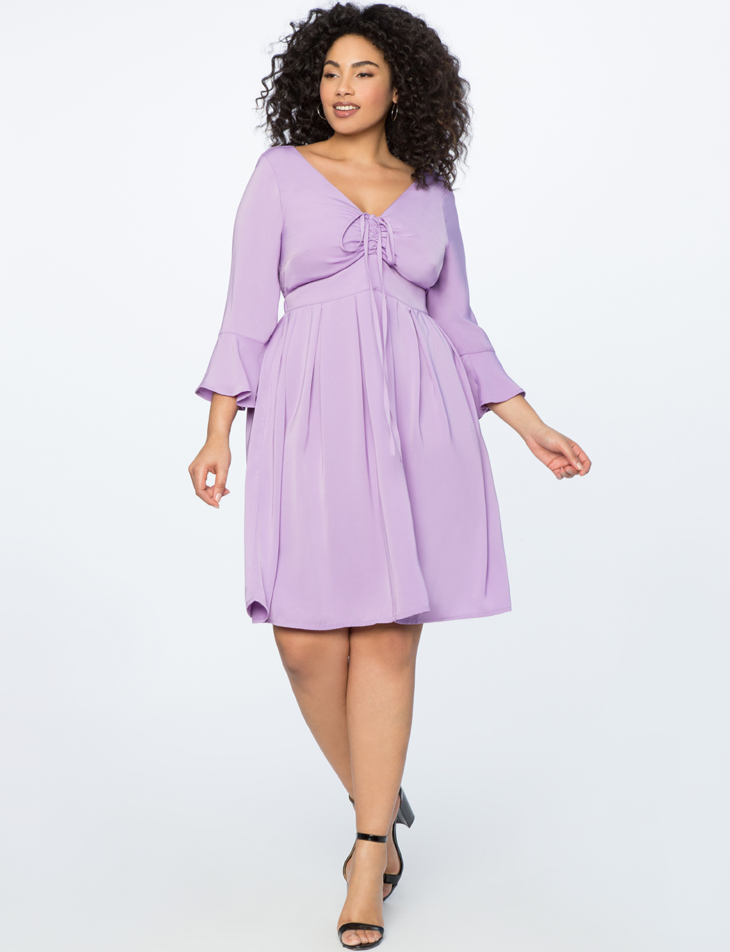Flare Sleeve Dress with Halter Detail
