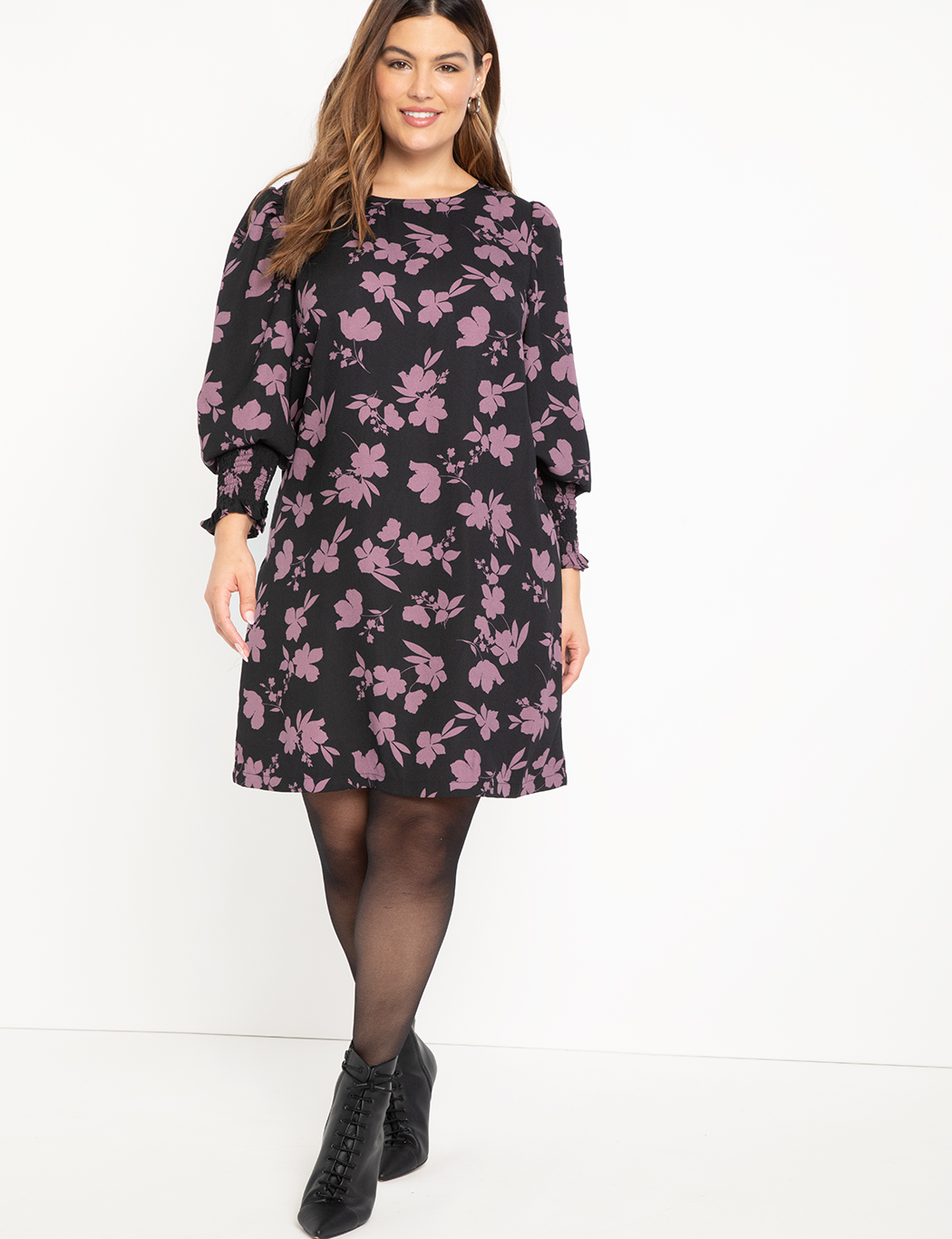 ELOQUII Elements Printed Bishop Sleeve Easy Dress Sweatpea Silhouette