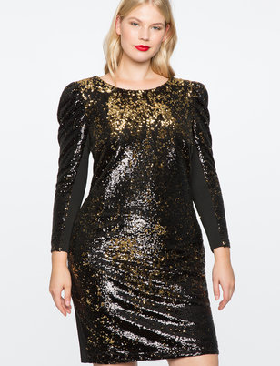 Sequin Puff Sleeve Dress