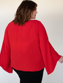 Flared Sleeve Boat Neck Top Scarlet