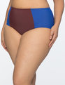 Color Blocked Bikini Bottoms Mazarine Blue and Burgundy