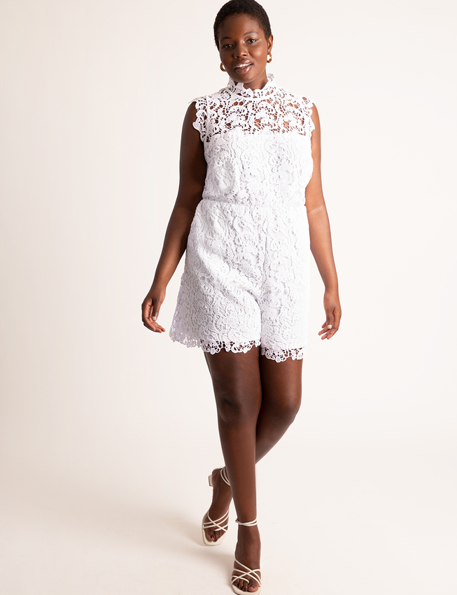 Mock Neck Lace Romper