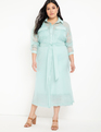 Unlined Sheer Jacket Dress Seafoam