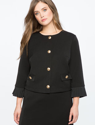 Pleated Cuff Crop Jacket