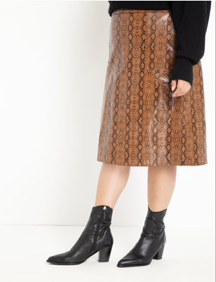 Faux Leather Snake Skirt