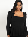 Square Neck Puff Sleeve Dress With Peplum Black