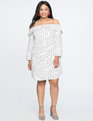 Off the Shoulder Shirt Dress White and Black Stripe