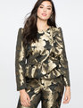 Ruffle Brocade Peplum Jacket Gold/Black