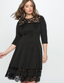 Lace Detail Fit and Flare Dress  Black