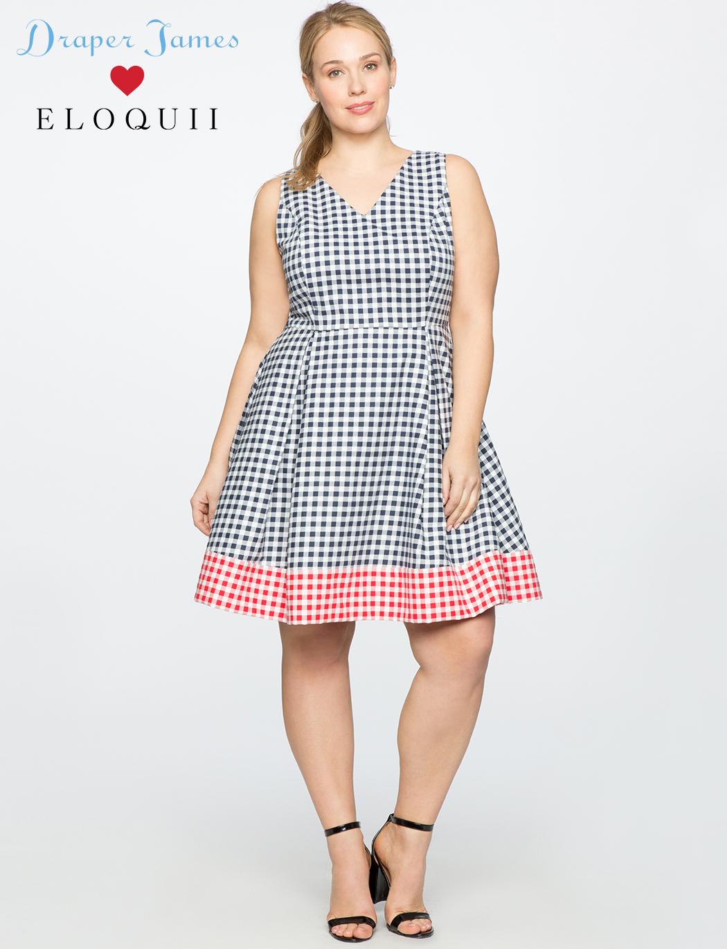 Draper James for ELOQUII Gingham Blocked Fit & Flare Dress