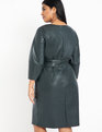 Lantern Sleeve Faux Leather Dress Pine Grove