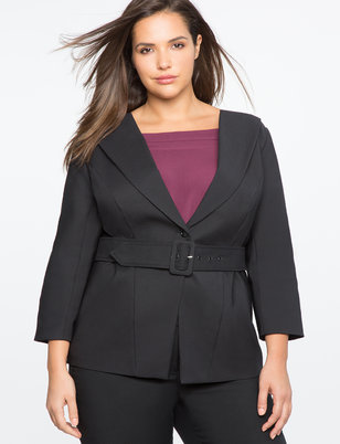 Studio Collarless Belted Blazer