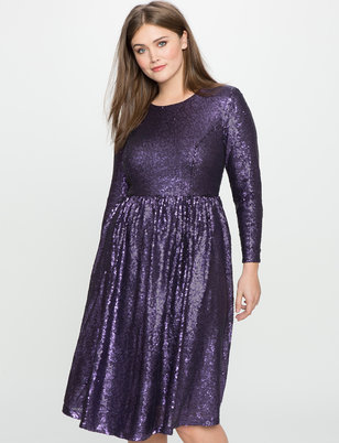Studio Sequin Fit and Flare Dress