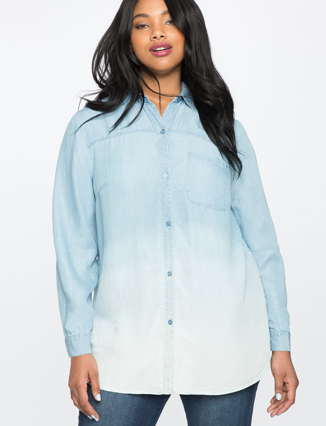 Color Blocked Chambray Oxford Shirt