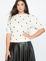 Short Puff Sleeve Sweater Ivory with Black Dots