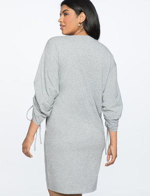 Cinched Sleeve Easy Tee Dress