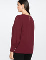 Puff Sleeve Top with Pearl Details Wine