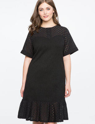 Eyelet Detail Dress with Flounce Hem