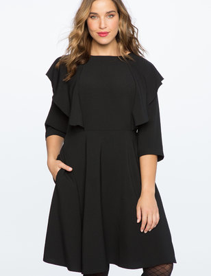 Tie Back Flutter Sleeve Dress