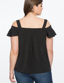 Cold Shoulder Flutter Sleeve Top Black