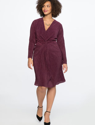 Knot Front Accordion Dress