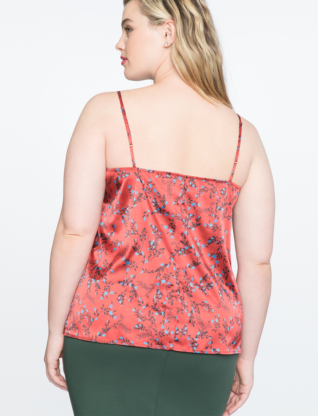 Printed Cami with Lace Trim