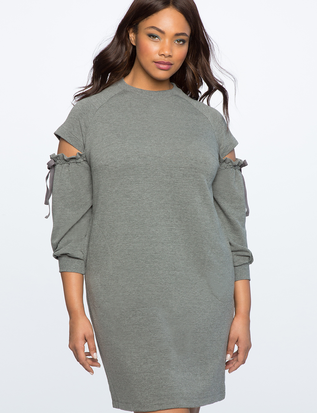 Cut Out Shoulder Sweatshirt Dress | Women\'s Plus Size Dresses ...