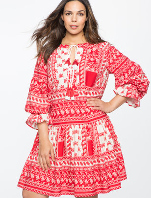 Gathered Sleeve Boho Dress