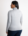 Button Cuff Turtleneck Sweater Light Heather Grey