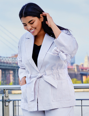 Striped Tie Waist Jacket