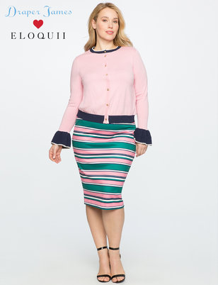 Draper James for ELOQUII Stripe Pencil Skirt with Scallop Waistband