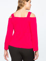 Cold Shoulder Sweetheart Neckline Top DARK AZALEA
