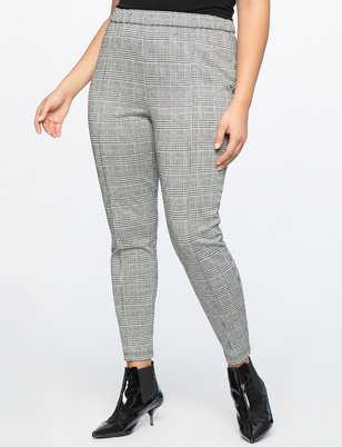 Plaid Legging With Pintuck