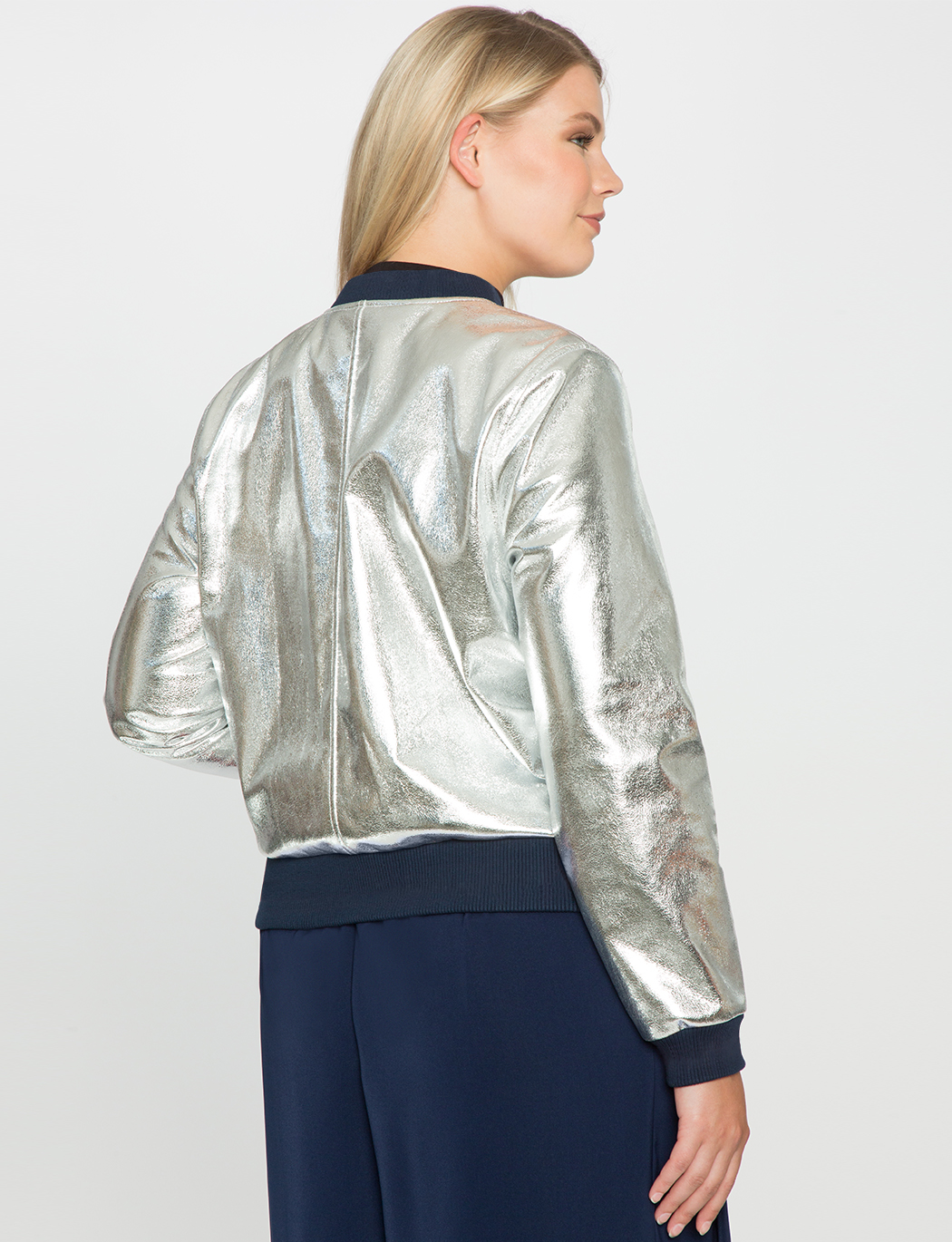 Sporty Metallic Bomber Jacket