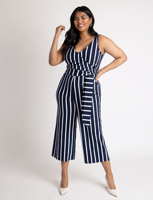 Wrap Front Striped Jumpsuit