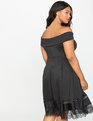 Off the Shoulder Dress with Lace Insert Black