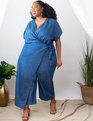 Chambray Wrap Jumpsuit Medium Wash